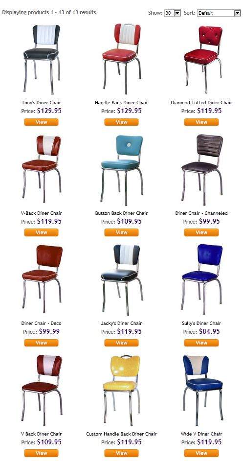 Diner Chair Pricing